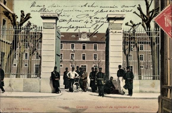 Ak Grenoble Isère, Quartier du regiment du genie, Eingang zur Kaserne, Genietruppen