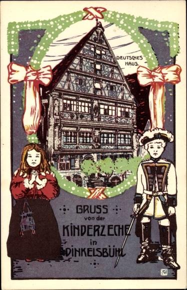 Künstler Ak Dinkelsbühl im Kreis Ansbach Mittelfranken, Kinderzeche, Deutsches Haus