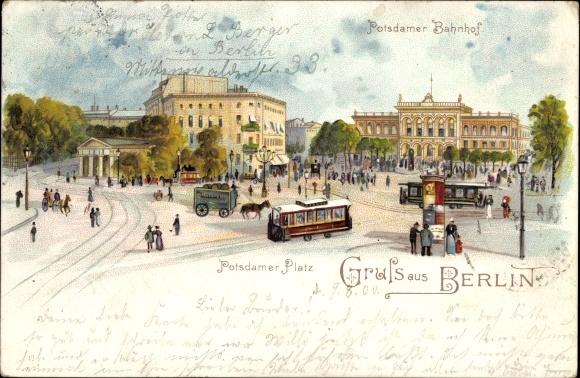 Litho Berlin Tiergarten, Potsdamer Platz, Potsdamer Bahnhof, Straßenbahnen