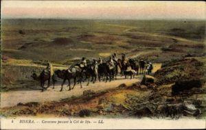Ak Biskra Algerien, Caravane passant le Col de Sfa, Karawane, Kamele