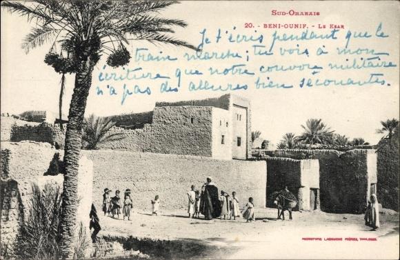 Ak Beni Ounif Algerien, Le Ksar, Partie an der Zitadelle, Araber, Esel, Palme