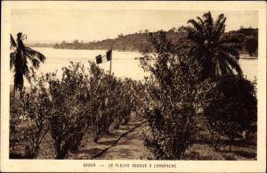 Ak Lambaréné Gabun, Le Fleuve Ogooué, Blick über Bäume zum Fluss, Palmen, Fahne