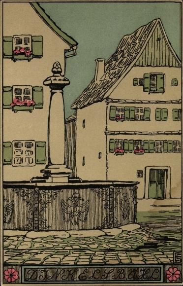 Künstler Ak Dinkelsbühl im Kreis Ansbach Mittelfranken, Blick auf einen Brunnen