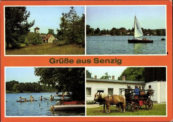 Ak Senzig Königs Wusterhausen, Krimnicksee, Badestelle am Krüpelsee, historische Feuerwehr