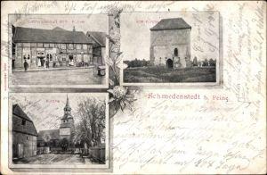 Ak Schmedenstedt Peine in Niedersachsen, Gastwirtschaft Wilh. Kühne, alte und neue Kirche