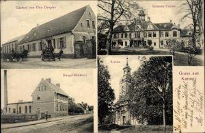Ak Karow Jerichow Sachsen Anhalt, Schloss Carow, Dampfmolkerei, Gasthof von Otto Gropler, Kirche