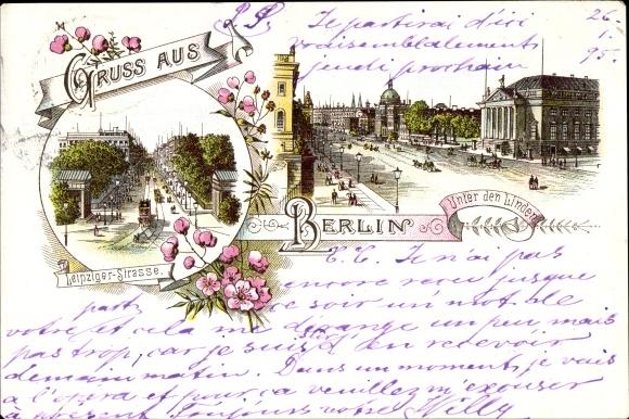 Litho Berlin Mite, Stadtansicht, Unter den Linden, Leipziger Straße