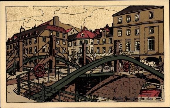 Steindruck Ak Berlin Mitte, Blick auf die Jungfernbrücke