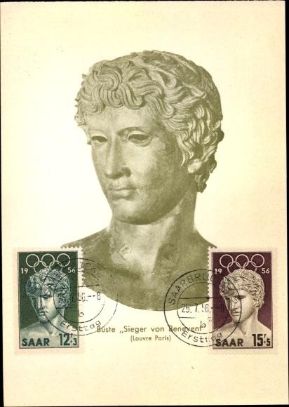 Ak Büste Sieger von Benevent, Louvre Paris, Büste, Olympische Spiele 1956