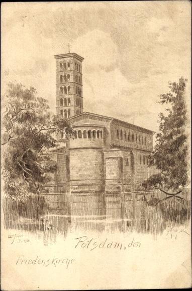 Künstler Ak Jander, Carl, Potsdam in Brandenburg, Blick auf die Friedenskirche, H. Thiele