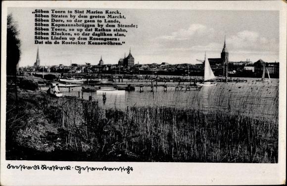 Ak Rostock, Blick über den Hafen auf die Stadt, Gedicht, Rostocker Kennewöhren