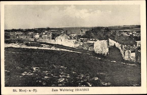 Ak Sainte Marie à Py Marne, Blick auf die Ortschaft, Kriegszerstörungen, I. WK