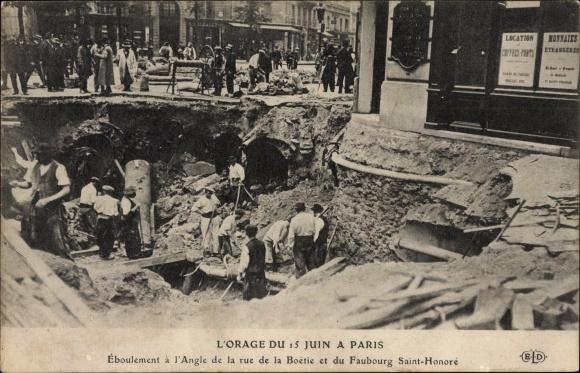 Ak Paris, L'Orage du 15 Juin, Éboulement à l'Angle de la Rue de la Boetie et du Faubourg St. Honoré