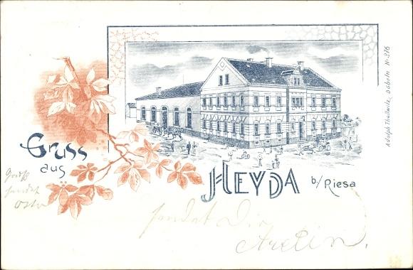 Litho Heyda Hirschstein Sachsen, Stadtansicht, Straßenpartie