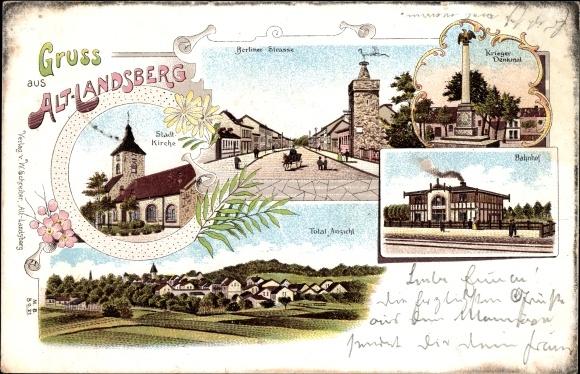 Litho Alt Landsberg in Brandenburg, Stadtansichten, Kirche, Panorama, Bahnhof