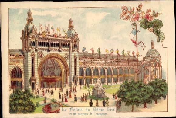 Litho Paris, Expo 1900, Le Palais du Génie Civil et de Moyens de Transport