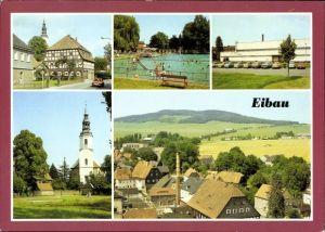 Ak Eibau Kottmar in der Oberlausitz, Freibad, Sporthalle, Kirche, Blick zum Kottmar, Wasserrutsche