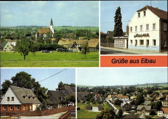 Ak Eibau Kottmar in der Oberlausitz, Blick vom Beckenberg, Umgebindehaus am Steinweg, Milchbar