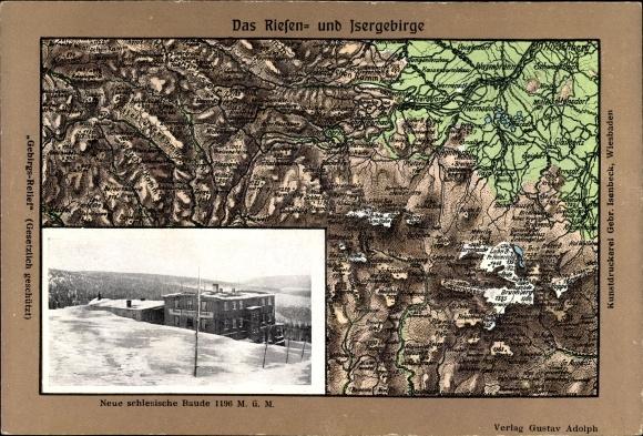 Relief Landkarten Ak Szklarska Poręba Schreiberhau Riesengebirge, Neue schlesische Baude, Schronisko