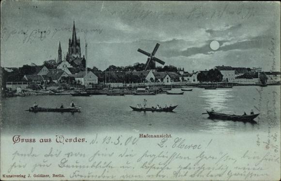 Mondschein Ak Werder an der Havel, Hafenansicht mit Blick auf die Stadt, Kirche, Windmühle