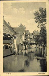 Ak Erfurt in Thüringen, Partie im Fischersand, Häuser am Wasser, Leiter