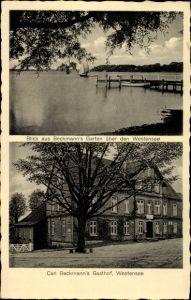 Ak Westensee in Schleswig Holstein, Carl Beckmann's Gasthof, Blick vom Garten über den Westensee