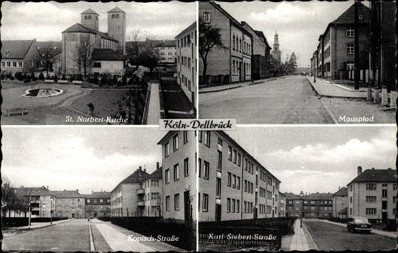 Ak Dellbrück Köln, St. Norbert Kirche, Mauspfad, Kopischstraße, Karl Siebert Straße, Wohnsiedlung