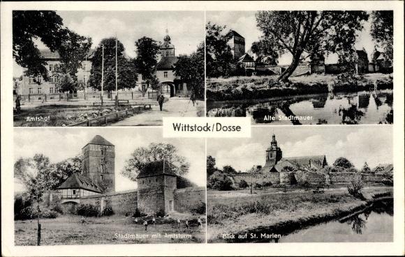 Ak Wittstock Dosse in der Ostprignitz, Amtshof, Alte Stadtmauer, Amtsturm, Blick auf Sankt Marlen