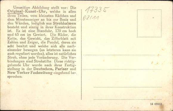 Ak Strasburg in der Uckermark, Original Kunst Uhr, Seitenansicht, Portrait von Otto Wegener 1