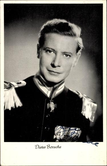 Ak Schauspieler Dieter Borsche, Portrait, Uniform, Epauletten, Ordensspange