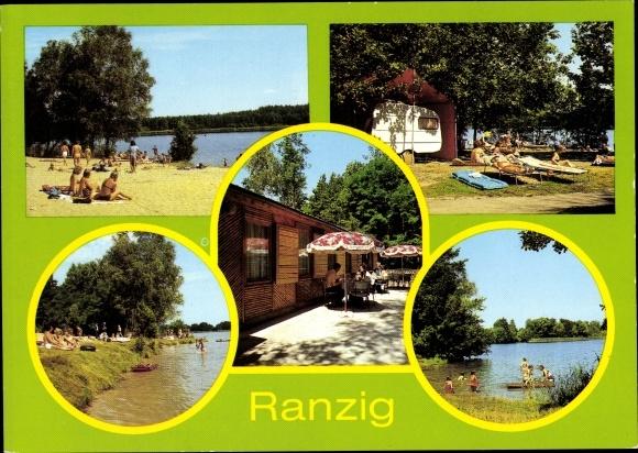 Ak Ranzig Tauche Brandenburg, Strand am Tiefen See, Konsum Gaststätte, Wohnwagen, Ranziger See