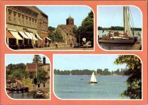 Ak Storkow in der Mark, Altstadt, Geschäfte, Storkower See, Partie an der Schleuse, Segelboote