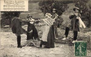 Lied Ak La Bourreiro d'Aubergno, Männer und Frauen tanzen im Kreis, Geige