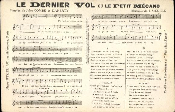 Lied Ak Sieulle, J., Jules COmbe, Danerty, Le Dernier Vol ou Le Petit Mécano