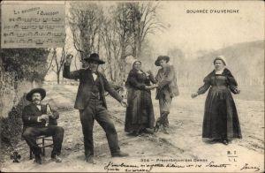 Lied Ak La Bourreio d'Aubergno, Bourrée d'Auvergne, Presentation des Dames, Tracht, Tänzer