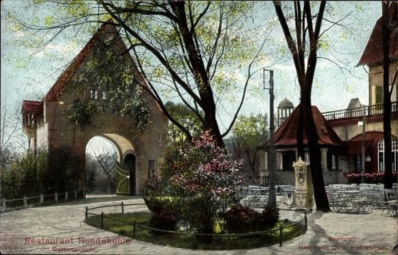 Ak Berlin Wilmersdorf Grunewald, Restaurant Hundekehle, Inh. Herrmann Otto, Gartenansicht