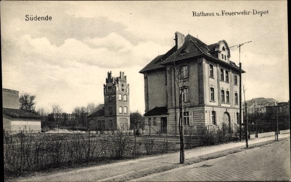 Ak Berlin Steglitz Südende, Rathaus und Feuerwehrdepot