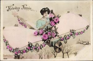 Ak Heureuse Année, Frau in einem Flugzeug, Fotomontage, Blüten