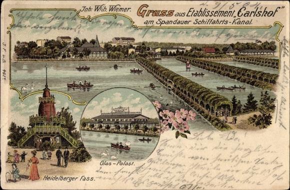 Litho Berlin Charlottenburg, Carlshof am Spandauer Schifffahrtskanal, Inhaber W. Wiemer, Glas Palast