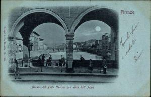 Mondschein Ak Firenze Florenz Toscana, Arcade del Ponte Vecchio con vista dell' Arno