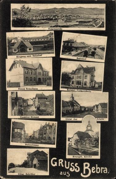 Ak Bebra An Der Fulda In Hessen Bahnhof Schulhaus Postgebäude