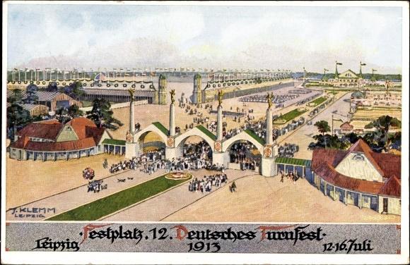 Künstler Ak Klemm, Leipzig, 12. Deutsches Turnfest 1913, Blick auf den Festplatz