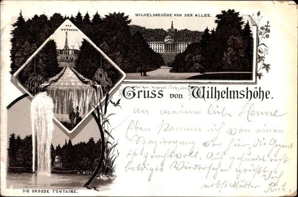 Litho Bad Wilhelmshöhe Kassel in Hessen, Wilhelmshöhe von der Allee, Octocon, grosse Fontäne