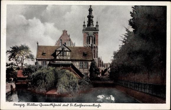 Ak Gdańsk Danzig, Müllergewerkshaus und St. Katharinenkirche