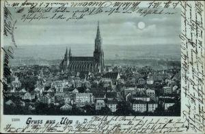 Mondschein Ak Ulm an der Donau Baden Württemberg, Blick auf die Stadt bei Mondenschein, Münster