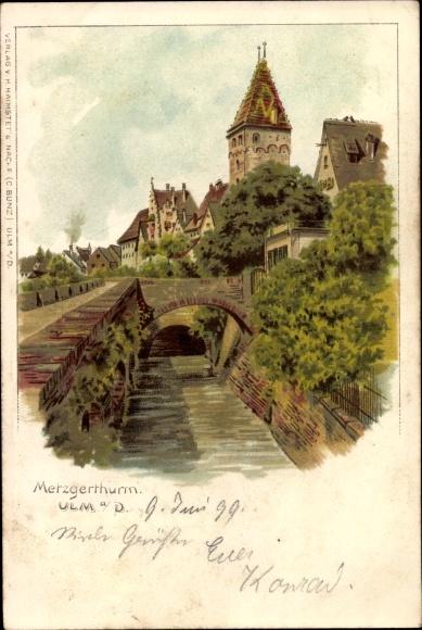 Litho Ulm an der Donau Baden Württemberg, Partie auf der Brücke mit Blick zum Metzgerturm