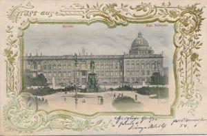 Relief Passepartout Ak Berlin Mitte, Blick auf das Schloss, Parkanlage