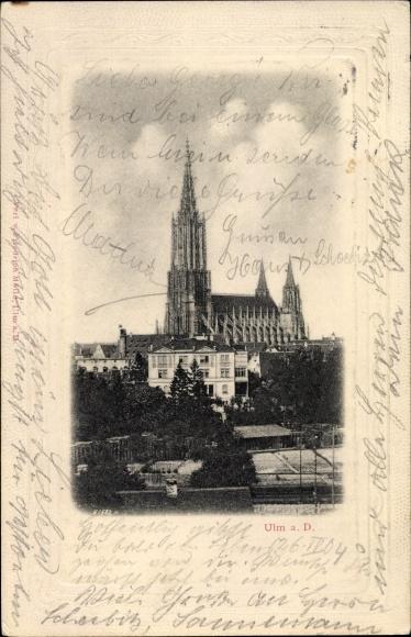Präge Passepartout Ak Ulm an der Donau Baden Württemberg, Blick auf Münster