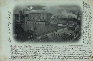 Mondschein Ak Berlin Mitte, Partie an der Jannowitzbrücke, Dampferstation, Bahnstrecke, Dampflok