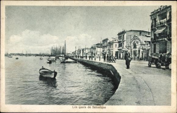 Ak Thessaloniki Griechenland, Les quais, Promenade am Wasser